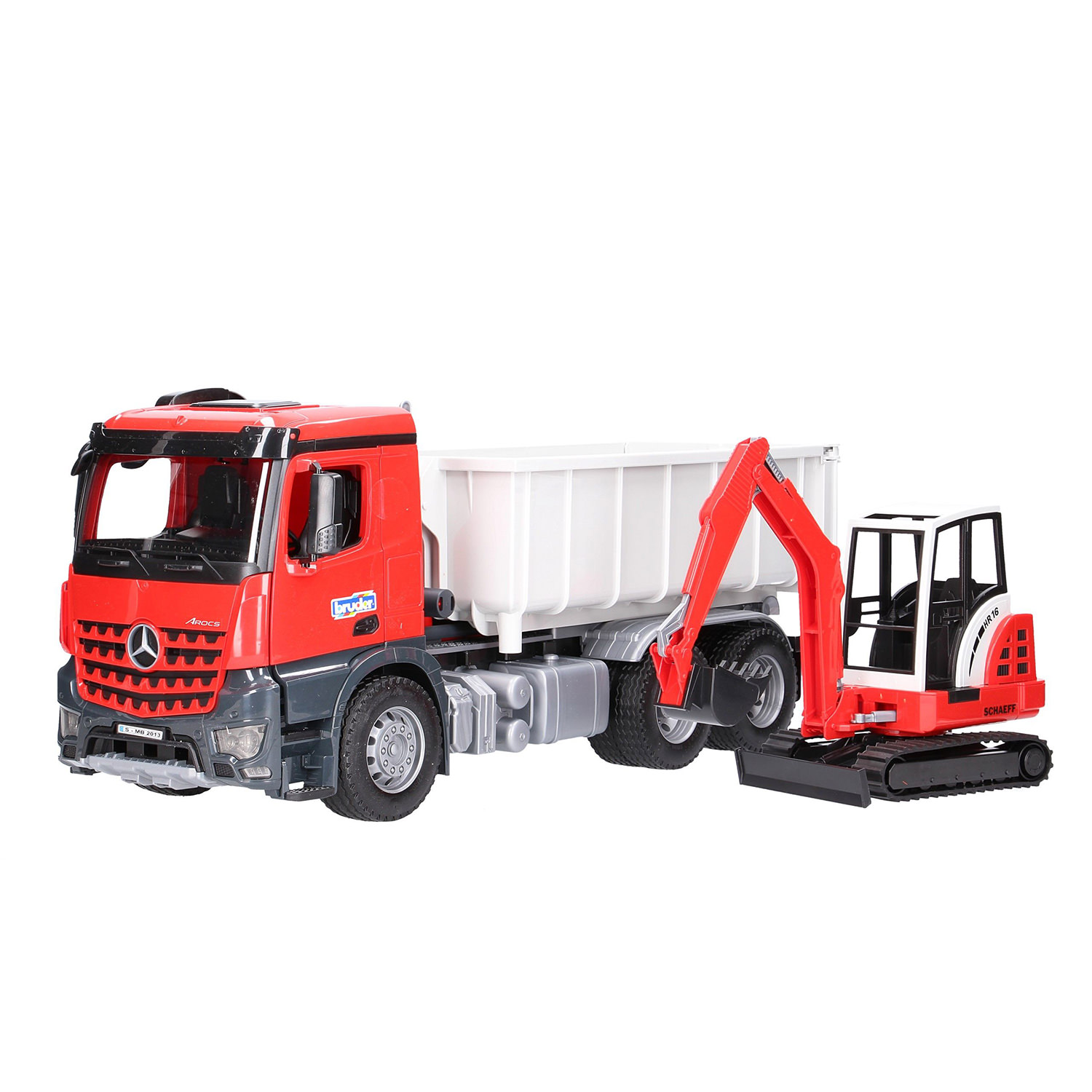 926e48039d45 Bruder 1/16 Mercedes Benz Arocs Truck with Roll Off Container and Excavator