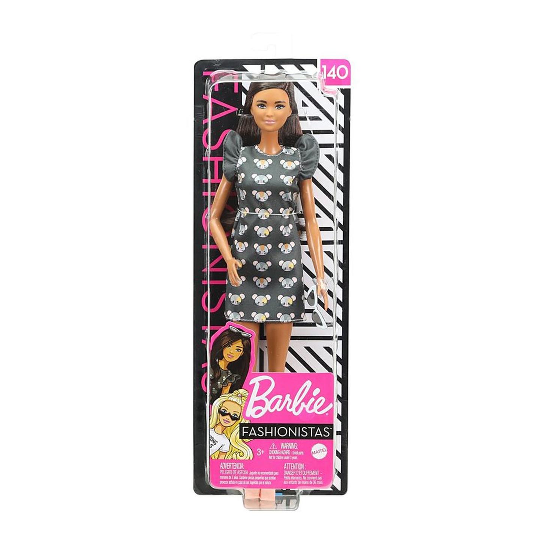Barbie ფეშენისტა გრძელი შავი თმით, სათვალით და თაგუნიების პრინტიანი კაბით