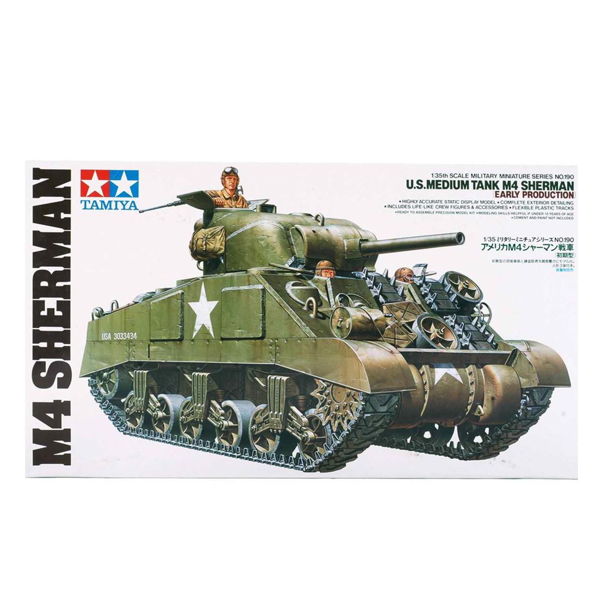 Tamiya 35190 1/35 U S  Medium Tank M4 Sherman (Early Production) Model Kit